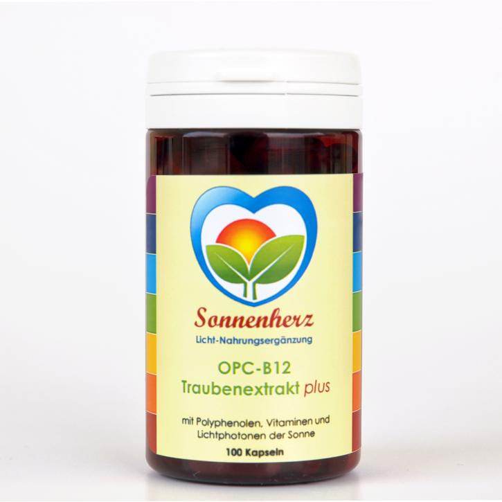 Energetischer OPC B12 Traubenextrakt plus Sonnen-Lichtphotonen von Sonnenherz -100 Kapseln