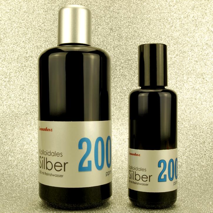 250 ml kolloidales Silber 200 PPM in zwei Violettglas-Flaschen: 200 ml & 50 ml Sprühflasche von Sonnenherz