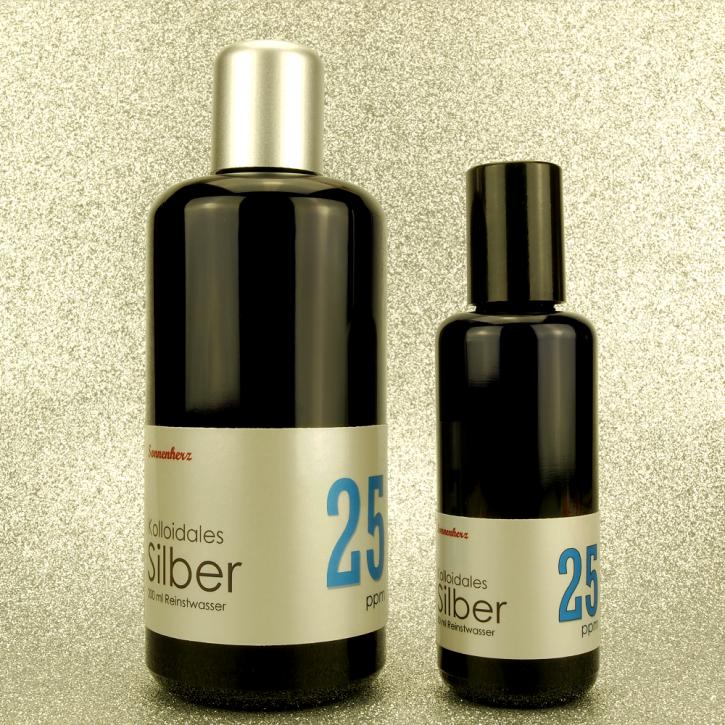 250 ml kolloidales Silber 25 PPM in zwei Violettglas-Flaschen: 200 ml & 50 ml Sprühflasche von Sonnenherz