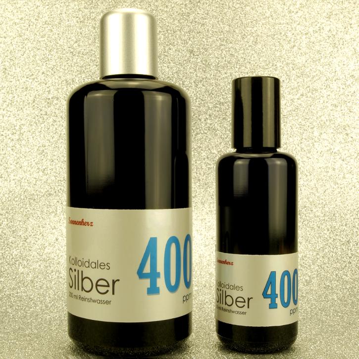 250 ml kolloidales Silber 400 PPM in zwei Violettglas-Flaschen: 200 ml & 50 ml Sprühflasche von Sonnenherz