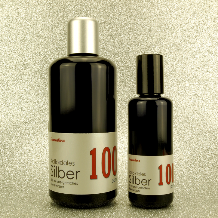 WELTNEUHEIT: 250 ml energetisches kolloidales Silber 100 PPM in zwei Violettglas-Flaschen: 200 ml & 50 ml Sprühflasche von Sonnenherz