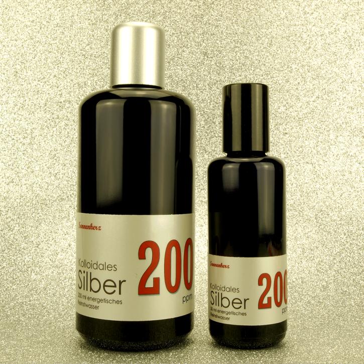 WELTNEUHEIT: 250 ml energetisches kolloidales Silber 200 PPM in zwei Violettglas-Flaschen: 200 ml & 50 ml Sprühflasche von Sonnenherz
