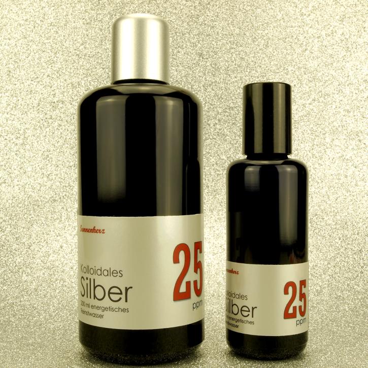 WELTNEUHEIT: 250 ml energetisches kolloidales Silber 25 PPM in zwei Violettglas-Flaschen: 200 ml & 50 ml Sprühflasche von Sonnenherz