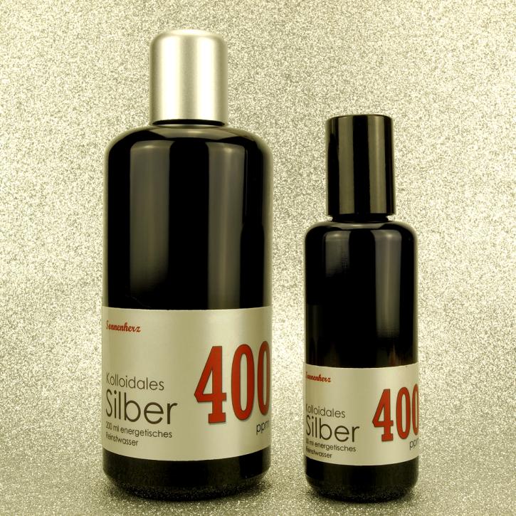 WELTNEUHEIT: 250 ml energetisches kolloidales Silber 400 PPM in zwei Violettglas-Flaschen: 200 ml & 50 ml Sprühflasche von Sonnenherz