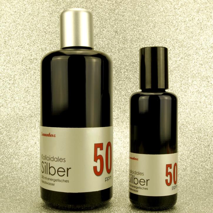 WELTNEUHEIT: 250 ml energetisches kolloidales Silber 50 PPM in zwei Violettglas-Flaschen: 200 ml & 50 ml Sprühflasche von Sonnenherz