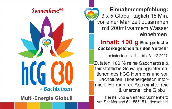 NEU! 100g HCG- C30 Globuli mit Bachblüten für Therapeuten, Apotheker, Diätberater - von Sonnenherz
